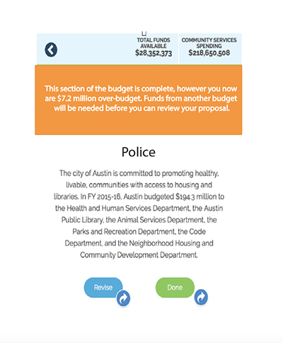 prototype for the austin budget party app redesign