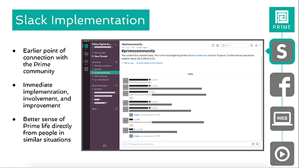 presentation slide highlighting slack implementation with prime