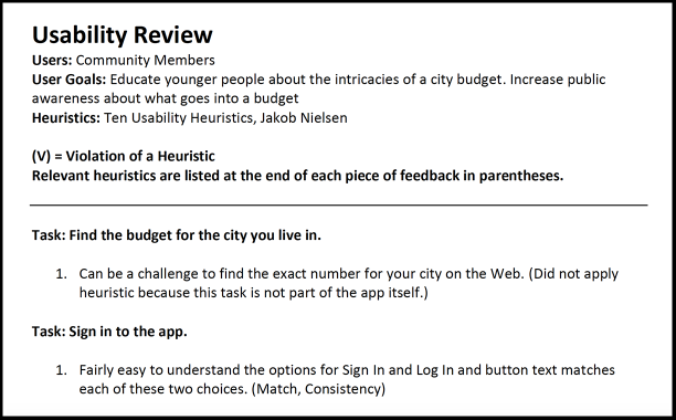 screenshot of the usability review document