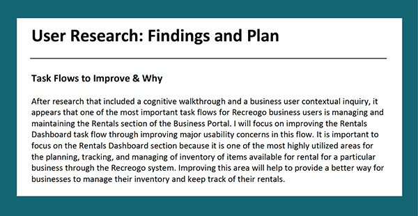 user research findings and plan document