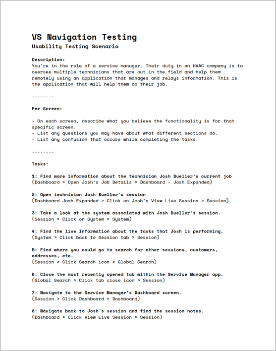 usability testing document